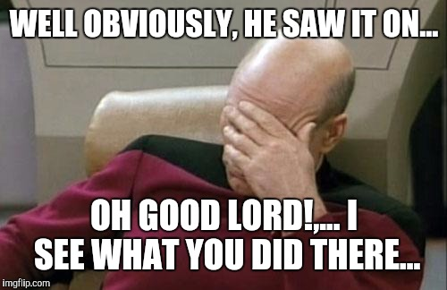 Captain Picard Facepalm Meme | WELL OBVIOUSLY, HE SAW IT ON... OH GOOD LORD!,... I SEE WHAT YOU DID THERE... | image tagged in memes,captain picard facepalm | made w/ Imgflip meme maker