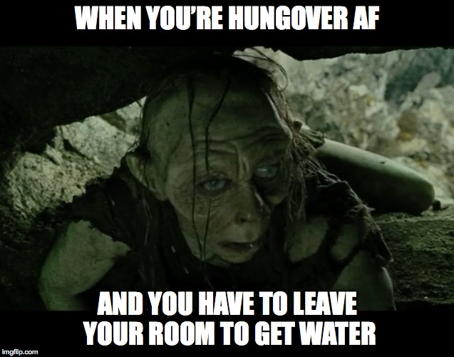 WHEN YOU'RE HUNGOVER AF AND YOU HAVE TO LEAVE YOUR ROOM TO GET WATER | image tagged in gollum | made w/ Imgflip meme maker