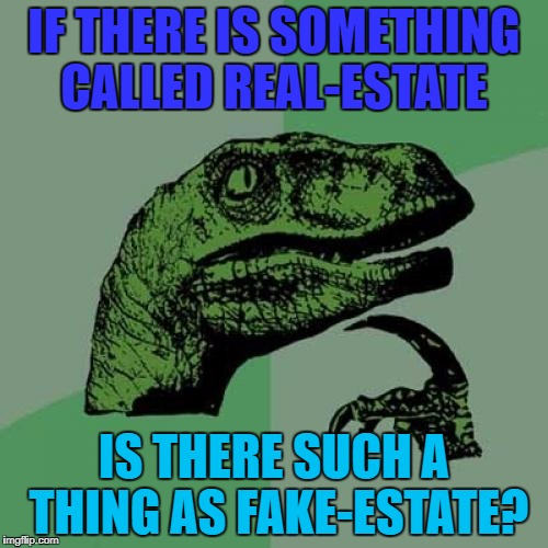 You never know! | IF THERE IS SOMETHING CALLED REAL-ESTATE IS THERE SUCH A THING AS FAKE-ESTATE? | image tagged in memes,philosoraptor,real estate,fake estate | made w/ Imgflip meme maker