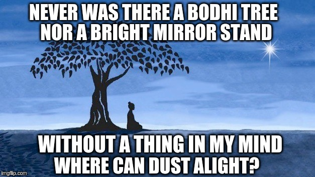 Verse from the 6th Ch'an / Zen Patriarch of Shaolin Temple | NEVER WAS THERE A BODHI TREE WHERE CAN DUST ALIGHT? NOR A BRIGHT MIRROR STAND WITHOUT A THING IN MY MIND | image tagged in buddha bodhi tree blue,buddhism,zen,acim | made w/ Imgflip meme maker