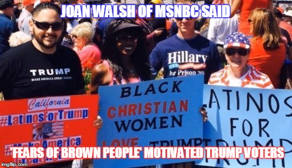 Were these the Trump voters Joan Walsh was talking about? | JOAN WALSH OF MSNBC SAID 'FEARS OF BROWN PEOPLE' MOTIVATED TRUMP VOTERS | image tagged in funny,joan walsh,brown people,trump voters | made w/ Imgflip meme maker