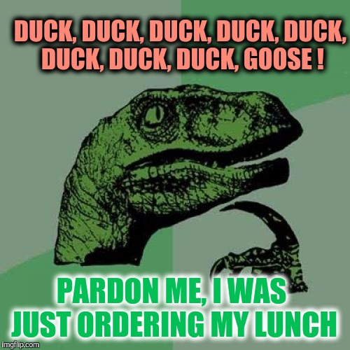 I Eat Em' As I Pick Em' | DUCK, DUCK, DUCK, DUCK, DUCK, DUCK, DUCK, DUCK, GOOSE ! PARDON ME, I WAS JUST ORDERING MY LUNCH | image tagged in memes,philosoraptor | made w/ Imgflip meme maker