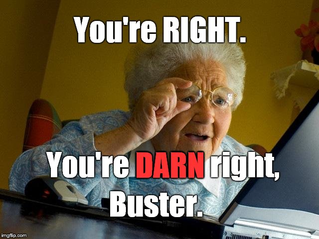 Grandma Finds The Internet Meme | You're RIGHT. You're DARN right, DARN Buster. | image tagged in memes,grandma finds the internet | made w/ Imgflip meme maker