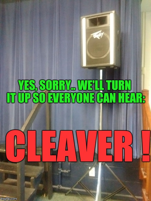 YES, SORRY.. WE'LL TURN IT UP SO EVERYONE CAN HEAR: CLEAVER ! | image tagged in memes,music,speaker,sound system,radio | made w/ Imgflip meme maker