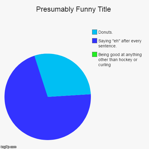 "Being good at anything other than hockey or curling, Saying ""eh"" after every sentence., Donuts. 