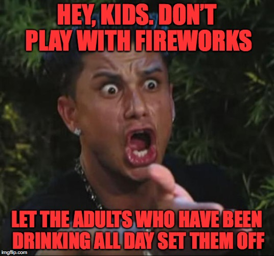 Happy Independence Day | HEY, KIDS. DON'T PLAY WITH FIREWORKS LET THE ADULTS WHO HAVE BEEN DRINKING ALL DAY SET THEM OFF | image tagged in memes,dj pauly d,4th of july | made w/ Imgflip meme maker