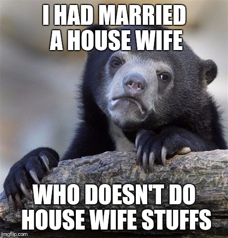 Confession Bear Meme | I HAD MARRIED A HOUSE WIFE WHO DOESN'T DO HOUSE WIFE STUFFS | image tagged in memes,confession bear | made w/ Imgflip meme maker