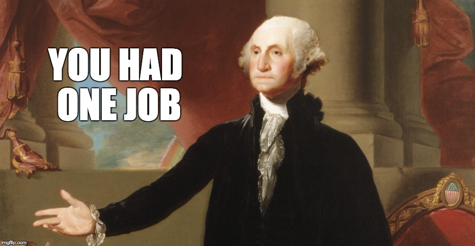 To all our present politicians out there who are railing against the constitution | YOU HAD ONE JOB | image tagged in you had one job gw,1776,george washington,face you make robert downey jr,one does not simply | made w/ Imgflip meme maker