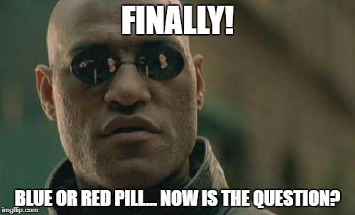 Matrix Morpheus Meme | FINALLY! BLUE OR RED PILL... NOW IS THE QUESTION? | image tagged in memes,matrix morpheus | made w/ Imgflip meme maker