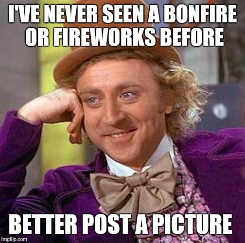 Creepy Condescending Wonka Meme | I'VE NEVER SEEN A BONFIRE OR FIREWORKS BEFORE BETTER POST A PICTURE | image tagged in memes,creepy condescending wonka | made w/ Imgflip meme maker
