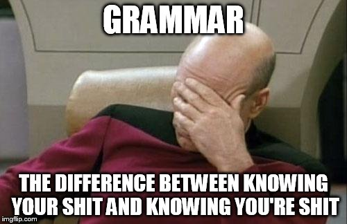 Captain Picard Facepalm Meme | GRAMMAR THE DIFFERENCE BETWEEN KNOWING YOUR SHIT AND KNOWING YOU'RE SHIT | image tagged in memes,captain picard facepalm | made w/ Imgflip meme maker