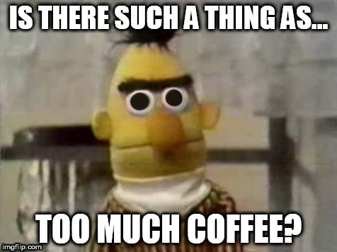 There cant be, right? | IS THERE SUCH A THING AS... TOO MUCH COFFEE? | image tagged in sesame street | made w/ Imgflip meme maker