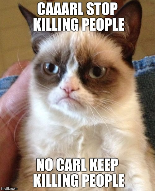 Grumpy Cat Meme | CAAARL STOP KILLING PEOPLE NO CARL KEEP KILLING PEOPLE | image tagged in memes,grumpy cat | made w/ Imgflip meme maker