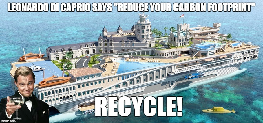 "Glad He Buys Carbon Offsets | LEONARDO DI CAPRIO SAYS ""REDUCE YOUR CARBON FOOTPRINT"" RECYCLE! 