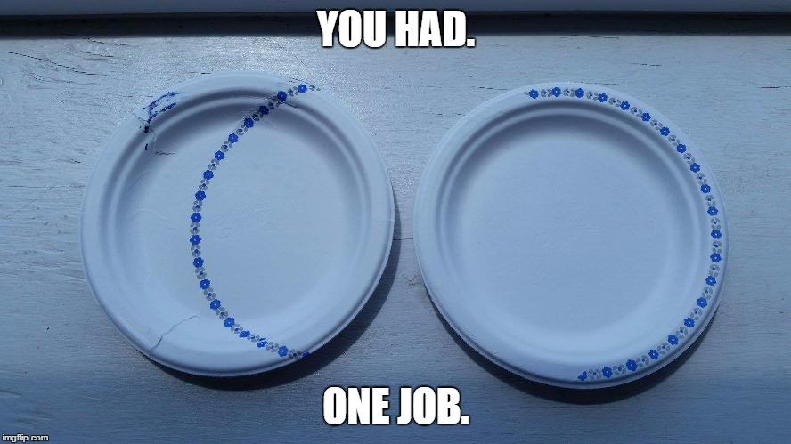 2 plates, 1 bad job | YOU HAD. ONE JOB. | image tagged in fail,you had one job | made w/ Imgflip meme maker