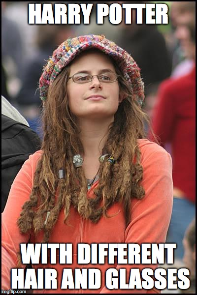 looking for ron and hermione | HARRY POTTER WITH DIFFERENT HAIR AND GLASSES | image tagged in memes,college liberal,harry potter | made w/ Imgflip meme maker