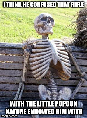 Waiting Skeleton Meme | I THINK HE CONFUSED THAT RIFLE WITH THE LITTLE POPGUN NATURE ENDOWED HIM WITH | image tagged in memes,waiting skeleton | made w/ Imgflip meme maker