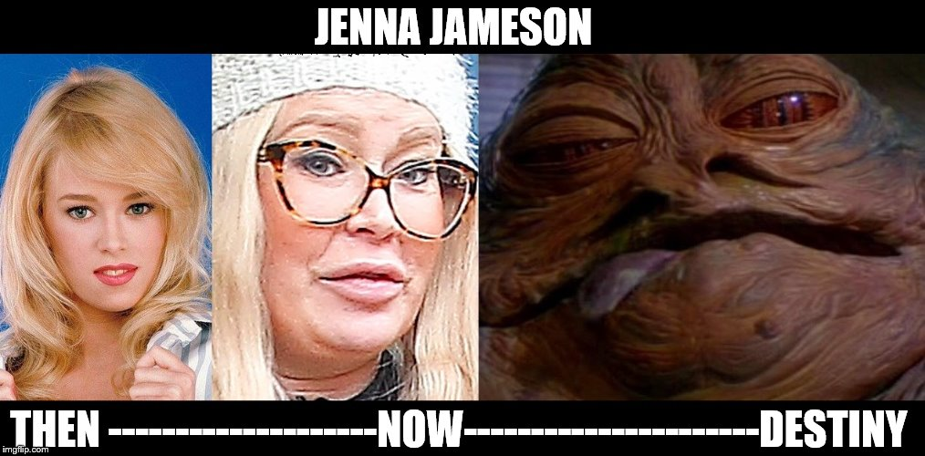 Jenna Jameson Plastic Surgery | JENNA JAMESON THEN --------------------NOW----------------------DESTINY | image tagged in jabba the hutt | made w/ Imgflip meme maker