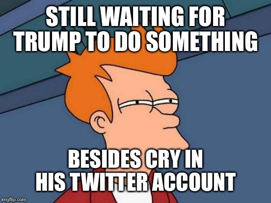 Futurama Fry Meme | STILL WAITING FOR TRUMP TO DO SOMETHING BESIDES CRY IN HIS TWITTER ACCOUNT | image tagged in memes,futurama fry | made w/ Imgflip meme maker