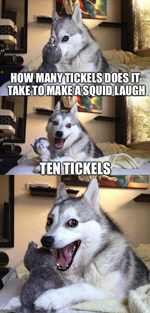 Bad Pun Dog Meme | HOW MANY TICKELS DOES IT TAKE TO MAKE A SQUID LAUGH TEN TICKELS | image tagged in memes,bad pun dog | made w/ Imgflip meme maker