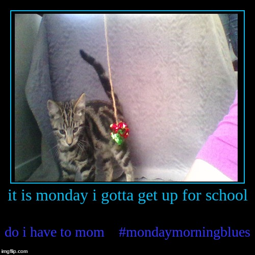 it is monday i gotta get up for school | do i have to mom #mondaymorningblues | image tagged in funny,demotivationals | made w/ Imgflip demotivational maker
