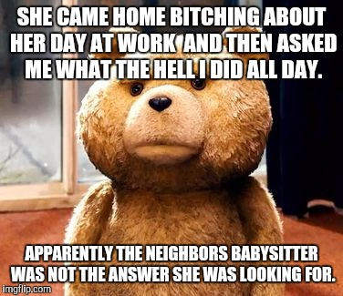 TED Meme | SHE CAME HOME B**CHING ABOUT HER DAY AT WORK  AND THEN ASKED ME WHAT THE HELL I DID ALL DAY. APPARENTLY THE NEIGHBORS BABYSITTER WAS NOT THE | image tagged in memes,ted | made w/ Imgflip meme maker