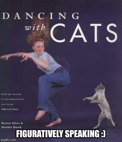 FIGURATIVELY SPEAKING :) | image tagged in memes,cats | made w/ Imgflip meme maker