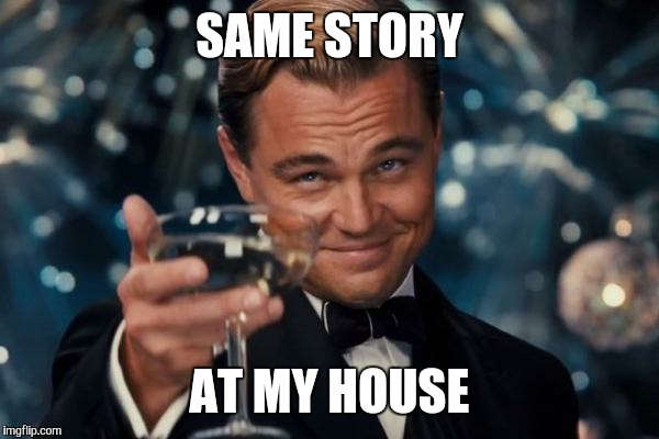 Leonardo Dicaprio Cheers Meme | SAME STORY AT MY HOUSE | image tagged in memes,leonardo dicaprio cheers | made w/ Imgflip meme maker