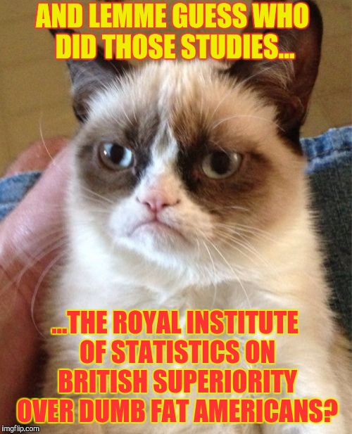 Grumpy Cat Meme | AND LEMME GUESS WHO DID THOSE STUDIES... ...THE ROYAL INSTITUTE OF STATISTICS ON BRITISH SUPERIORITY OVER DUMB FAT AMERICANS? | image tagged in memes,grumpy cat | made w/ Imgflip meme maker
