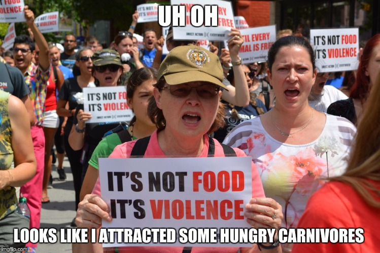UH OH LOOKS LIKE I ATTRACTED SOME HUNGRY CARNIVORES | made w/ Imgflip meme maker