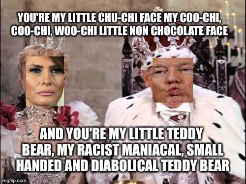 YOU'RE MY LITTLE CHU-CHI FACEMY COO-CHI, COO-CHI, WOO-CHI LITTLE NON CHOCOLATE FACE AND YOU'RE MY LITTLE TEDDY BEAR, MY RACIST MANIACAL, SM | image tagged in trump n wife | made w/ Imgflip meme maker