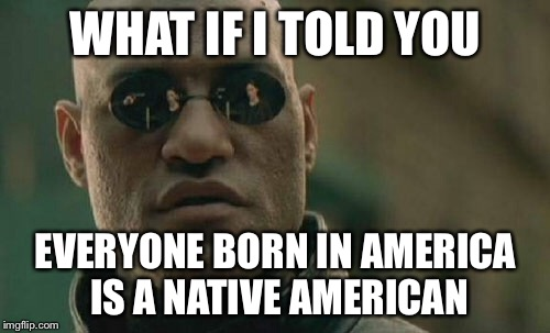 Matrix Morpheus Meme | WHAT IF I TOLD YOU EVERYONE BORN IN AMERICA IS A NATIVE AMERICAN | image tagged in memes,matrix morpheus | made w/ Imgflip meme maker