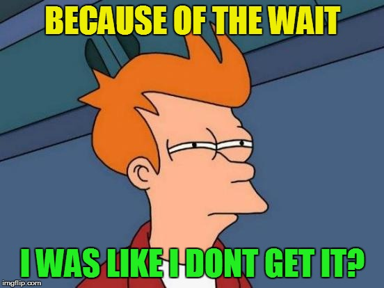 Futurama Fry Meme | BECAUSE OF THE WAIT I WAS LIKE I DONT GET IT? | image tagged in memes,futurama fry | made w/ Imgflip meme maker