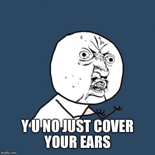 Y U No Meme | Y U NO JUST COVER YOUR EARS | image tagged in memes,y u no | made w/ Imgflip meme maker