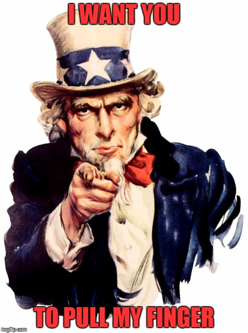 Uncle Sam Meme |  I WANT YOU; TO PULL MY FINGER | image tagged in memes,uncle sam | made w/ Imgflip meme maker
