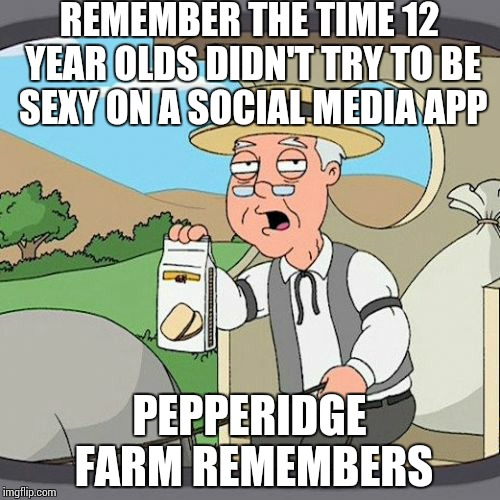 Pepperidge Farm Remembers Meme | REMEMBER THE TIME 12 YEAR OLDS DIDN'T TRY TO BE SEXY ON A SOCIAL MEDIA APP PEPPERIDGE FARM REMEMBERS | image tagged in memes,pepperidge farm remembers | made w/ Imgflip meme maker