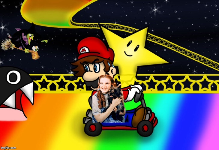 Rainbow road race! | image tagged in rainbow road,wizard of oz,mario,dorothy,banjo-kazooie | made w/ Imgflip meme maker