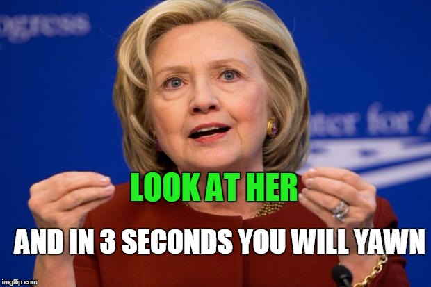 Hillary Clinton | LOOK AT HER AND IN 3 SECONDS YOU WILL YAWN | image tagged in hillary clinton | made w/ Imgflip meme maker