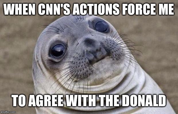 Awkward Moment Sealion Meme | WHEN CNN'S ACTIONS FORCE ME TO AGREE WITH THE DONALD | image tagged in memes,awkward moment sealion | made w/ Imgflip meme maker