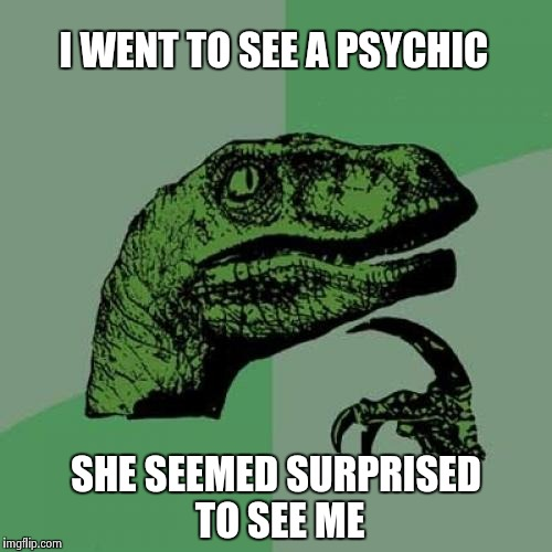 Philosoraptor Meme | I WENT TO SEE A PSYCHIC SHE SEEMED SURPRISED TO SEE ME | image tagged in memes,philosoraptor | made w/ Imgflip meme maker