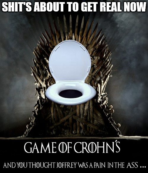 Fans  don't want to see the show go in the toilet | SHIT'S ABOUT TO GET REAL NOW | image tagged in game of thrones,memes,bad pun,crohns disease | made w/ Imgflip meme maker