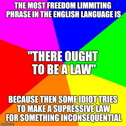 Blank Colored Background Meme | THE MOST FREEDOM LIMMITING PHRASE IN THE ENGLISH LANGUAGE IS BECAUSE THEN SOME IDIOT TRIES TO MAKE A SUPRESSIVE LAW FOR SOMETHING INCONSEQUE | image tagged in memes,blank colored background | made w/ Imgflip meme maker