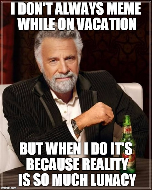 The Most Interesting Man In The World Meme | I DON'T ALWAYS MEME WHILE ON VACATION BUT WHEN I DO IT'S BECAUSE REALITY IS SO MUCH LUNACY | image tagged in memes,the most interesting man in the world | made w/ Imgflip meme maker