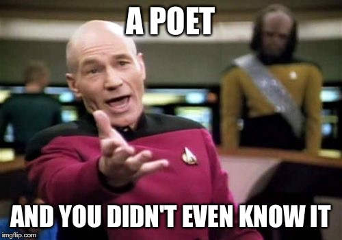 Picard Wtf Meme | A POET AND YOU DIDN'T EVEN KNOW IT | image tagged in memes,picard wtf | made w/ Imgflip meme maker