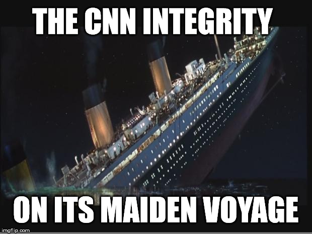 CNN = Fake News |  THE CNN INTEGRITY; ON ITS MAIDEN VOYAGE | image tagged in titanic sinking,cnn sucks,cnn fake news,fake news | made w/ Imgflip meme maker