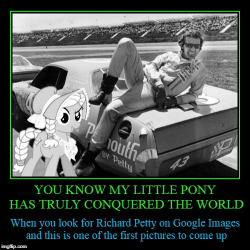I didn't know Granny Smith was his crew chief | YOU KNOW MY LITTLE PONY HAS TRULY CONQUERED THE WORLD | When you look for Richard Petty on Google Images and this is one of the first pictur | image tagged in funny,demotivationals,my little pony,nascar | made w/ Imgflip demotivational maker