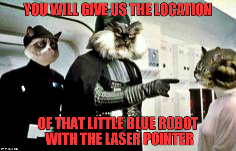 Not many know that the death star was built as a giant laser pointer counter weapon... | YOU WILL GIVE US THE LOCATION OF THAT LITTLE BLUE ROBOT WITH THE LASER POINTER | image tagged in grumpy cat,evil cat,star wars,laser pointer,princess meowia,r2d2 | made w/ Imgflip meme maker