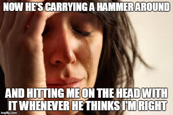 First World Problems Meme | NOW HE'S CARRYING A HAMMER AROUND AND HITTING ME ON THE HEAD WITH IT WHENEVER HE THINKS I'M RIGHT | image tagged in memes,first world problems | made w/ Imgflip meme maker