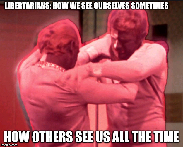 Libertarian Differences | LIBERTARIANS: HOW WE SEE OURSELVES SOMETIMES HOW OTHERS SEE US ALL THE TIME | image tagged in libertarian,libertarians,gary johnson,libertarianism | made w/ Imgflip meme maker