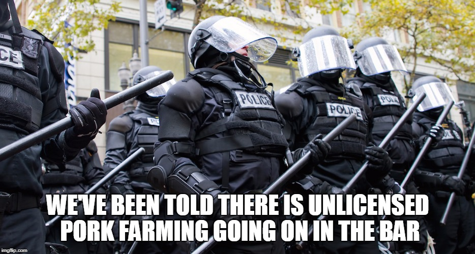 WE'VE BEEN TOLD THERE IS UNLICENSED PORK FARMING GOING ON IN THE BAR | made w/ Imgflip meme maker